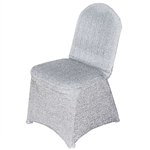 Wholesale Elegant Metallic Spandex Banquet Chair Cover (Silver) | RazaTrade