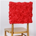 "16 x 14"" Coral Grandiose Rosette Chivari Square Top Chair Caps for Wedding Party Decorations"