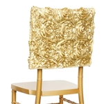Grandiose Rosette Chair Caps (Square-Top) - Champagne