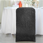 Spandex Stretch Folding Chair Cover With Metallic Glittering Back - Black