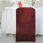 Spandex Stretch Folding Chair Cover With Metallic Glittering Back - Burgundy