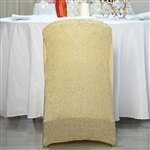 Spandex Stretch Folding Chair Cover With Metallic Glittering Back - Champagne