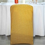 Spandex Stretch Folding Chair Cover With Metallic Glittering Back - Gold