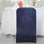 Spandex Stretch Folding Chair Cover With Metallic Glittering Back - Navy Blue