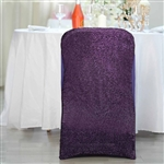 Spandex Stretch Folding Chair Cover With Metallic Glittering Back - Purple