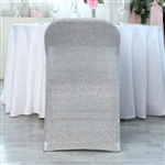 Spandex Stretch Folding Chair Cover With Metallic Glittering Back - Silver