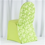 Satin Rosette Apple Green Stretch Banquet Spandex Chair