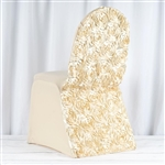 Satin Rosette Champagne Stretch Banquet Spandex Chair