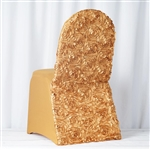 Satin Rosette Gold Stretch Banquet Spandex Chair