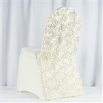 Satin Rosette Ivory Stretch Banquet Spandex Chair