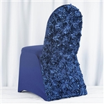 Satin Rosette Navy Blue Stretch Banquet Spandex Chair