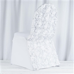 Satin Rosette White Stretch Banquet Spandex Chair
