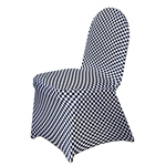 Checkered Spandex Chair Cover - White / Black
