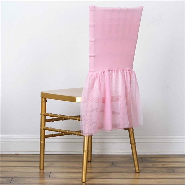 Fine Pink Bridal Wedding Party Sheer Spandex And Tulle Tutu Chair Covers Machost Co Dining Chair Design Ideas Machostcouk