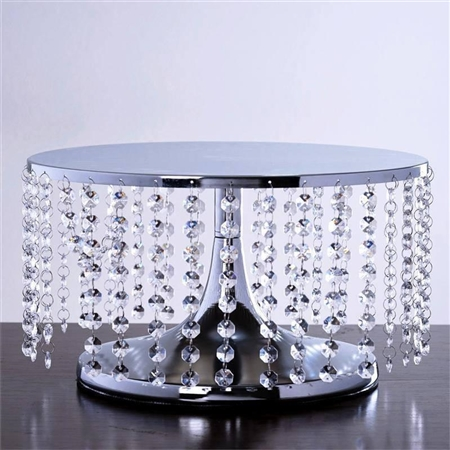 "8"" Tall Silver Crystal Pendants Metal Chandelier Cake Stand"