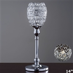 "14"" Tall Crystal Beaded Candle Holder Goblet Votive Tealight"