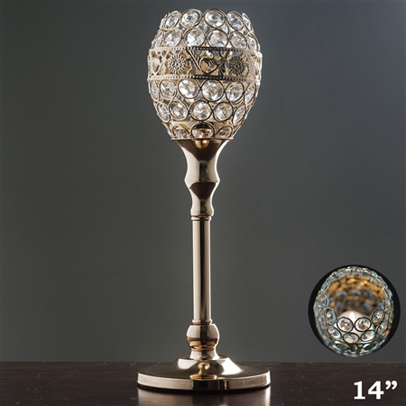 "14"" Tall Crystal Beaded Candle Holder Goblet Votive Tealight - Gold"