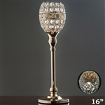 "16"" Tall Crystal Beaded Candle Holder Goblet Votive Tealight - Gold"