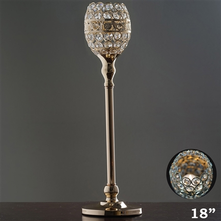 "18"" Tall Crystal Beaded Candle Holder Goblet Votive Tealight - Gold"