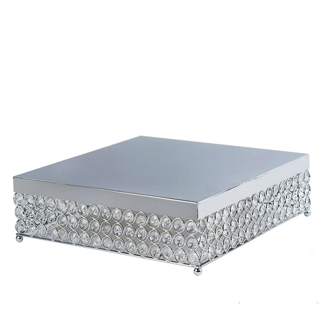 buy 14 bejeweled silver square crystal cake stand