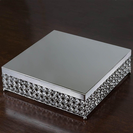 "16"" Silver Square Crystal Beaded Metal Cake Stand"