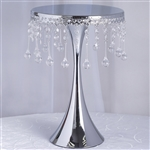"17"" Tall Silver Metallic Trumpet Cake Riser Centerpiece with hanging Acrylic Crystal Chains"