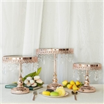 Rose Gold Round Modern Mirror Top Cup Cake Centerpiece Stand -  Set of 3