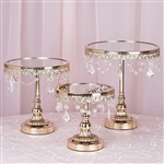 Gold Round Modern Mirror Top Cup Cake Centerpiece Stand -  Set of 3