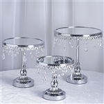 Silver Round Modern Mirror Top Cup Cake Centerpiece Stand -  Set of 3