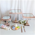 Rose Gold Square Metallic Cup Cake Riser Centerpiece Stand with Crystal Pendant Chains - Set of 3