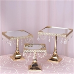 Gold Square Metallic Cup Cake Riser Centerpiece Stand with Crystal Pendant Chains - Set of 3