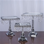 Silver Square Metallic Cup Cake Riser Centerpiece Stand with Crystal Pendant Chains - Set of 3