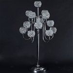 "40"" Silver Crystal Beaded 13 Arm Candelabra Chandelier Votive Candle Holder Wedding Centerpiece"