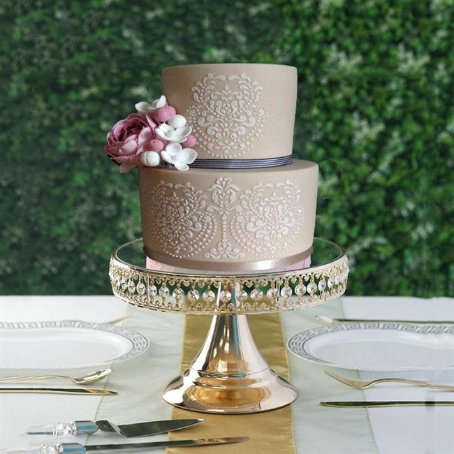 8in Golden Crystal Beaded Mirror Top Cake Stand Buy Wholesale