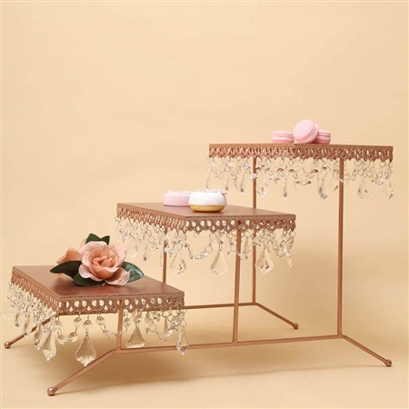 "15"" Tall Metal 3 Tiered Cupcake Holder Display Stand with Crystal Pendant - Blush/Rose Gold"