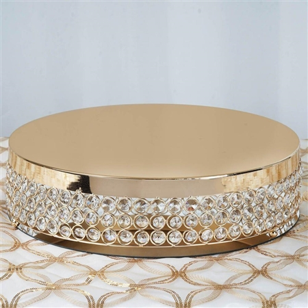 "15.5"" Gold Crystal Beaded Metal Riser Cake Stand"