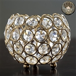"4"" x 3.5"" Adorable Votive Tealight Crystal Candle Holder - Gold"