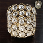 "3.25"" Dia x 2.75 Tall Bejeweled Blitz Votive Tealight Crystal Candle Holder - Gold"