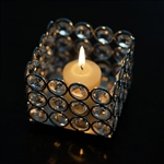"3.25"" x 2.5"" Illuminating Square Votive Tealight Crystal Candle Holder"