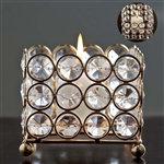 "3.25"" x 2.5"" Illuminating Square Votive Tealight Crystal Candle Holder - Gold"