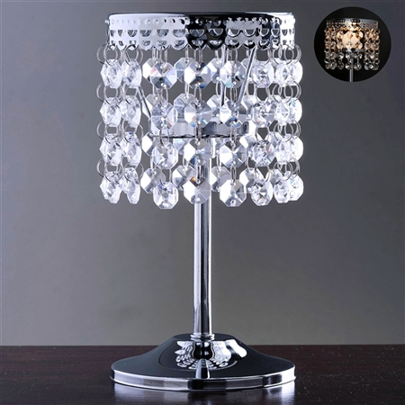 "8"" Elegant Metal Votive Tealight Crystal Candle Holder - Silver"