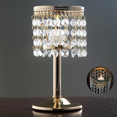 "8"" Elegant Metal Votive Tealight Crystal Candle Holder - Gold"