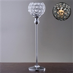 "16"" Tall Sleek Pillar Crystal Votive Tealight Candle Holder - Silver"