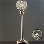 "16"" Tall Sleek Pillar Crystal Votive Tealight Candle Holder - Gold"