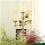 "23"" Tall 3 Arm Gold Metal Candle Stand Candelabra With Clear Crystal Pendants"