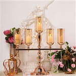 "24"" Tall 5 Arm Gold Metal Candle Stand Candelabra With Glass Tubes & Clear Crystal Pendants"