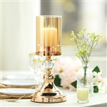 "13"" Tall Gold Metal Pillar Candle Holder With Hurricane Glass Tube"