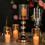 "15"" Tall Gold Metal Pillar Candle Holder With Hurricane Glass Tube"
