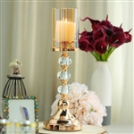 "17"" Tall Gold Metal Pillar Candle Holder With Hurricane Glass Tube"