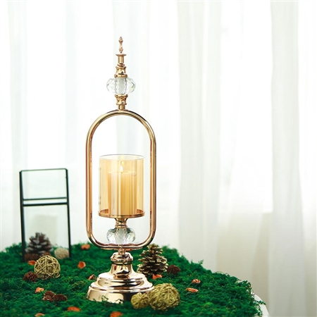 "19"" Tall Gold Hurricane Votive Metal Candle Holder With Glass Tube And 2 Diamond Crystals"